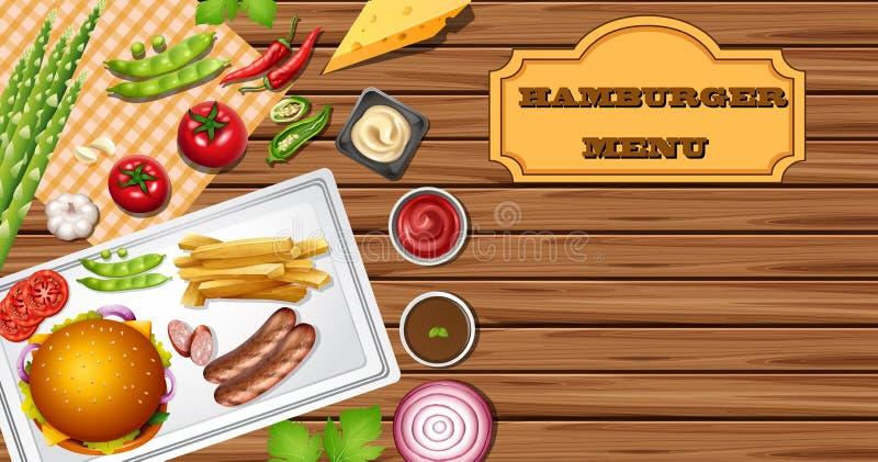 Molde do fundo para o menu do Hamburger ilustração do vetor