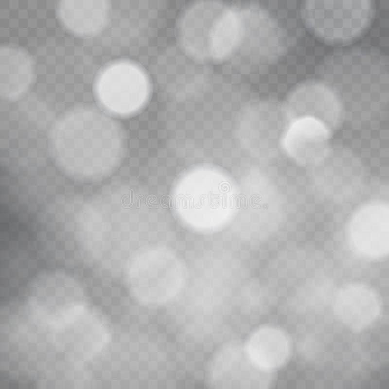 Molde do fundo quadrado transparente do sumário com sparkles e luzes do bokeh, fundo cinzento transparente do vetor ilustração do vetor