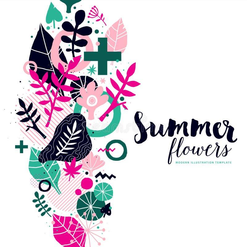 Molde do fundo do verão com elementos abstratos e florais Pode ser usado para o anúncio e os convites ilustração royalty free
