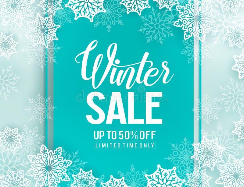 Molde do fundo do vetor da venda do inverno com elementos dos flocos de neve ilustração royalty free