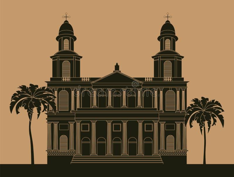 Molde do gráfico das construções da cidade nicarágua ilustração do vetor