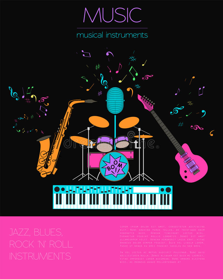 Molde do gráfico dos instrumentos musicais Jazz, azuis, vagabundos do rolo do ` do ` n da rocha ilustração stock