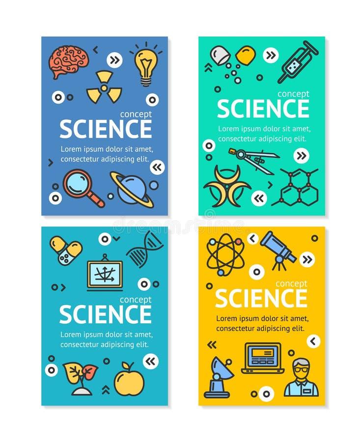 Molde do grupo de cartão dos cartazes da bandeira do inseto da pesquisa da ciência do vetor ilustração do vetor