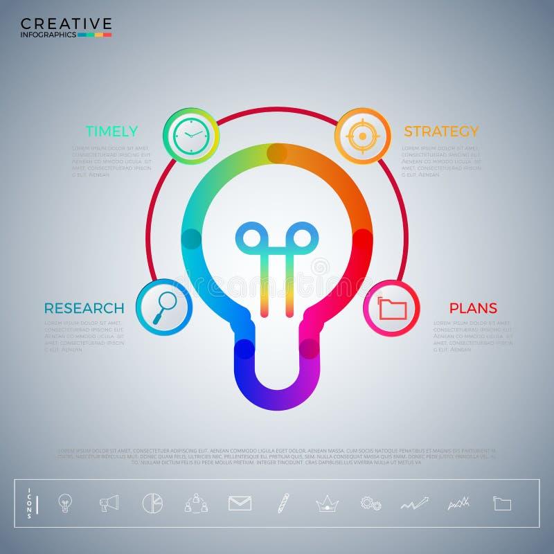 Molde do infographics da ideia da ampola com ícones e elementos Conceito creativo Pode ser usado para a disposição dos trabalhos, ilustração stock