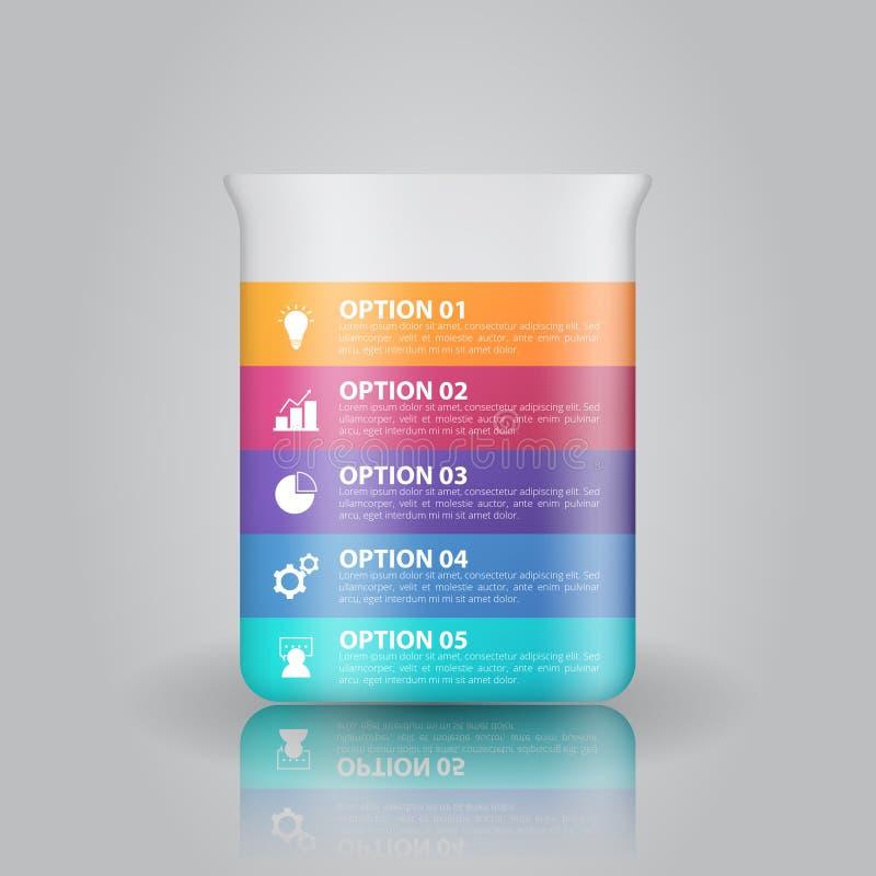 Molde do infographics dos produtos vidreiros de laboratório para o negócio, educação, design web, bandeiras, folhetos, insetos ilustração royalty free