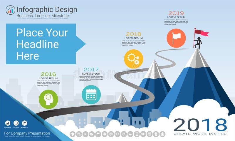 Molde do infographics do negócio, espaço temporal do marco miliário ou mapa de estradas com opções do fluxograma de processo 4 ilustração royalty free