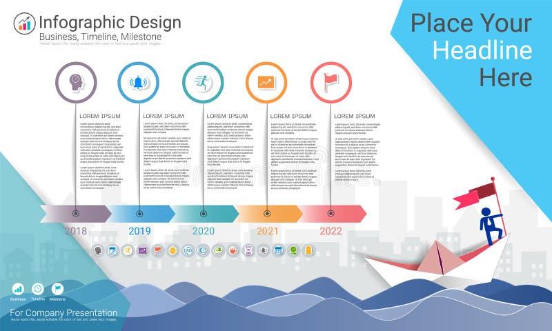 Molde do infographics do negócio, espaço temporal do marco miliário ou mapa de estradas com opções do fluxograma de processo 5 ilustração royalty free