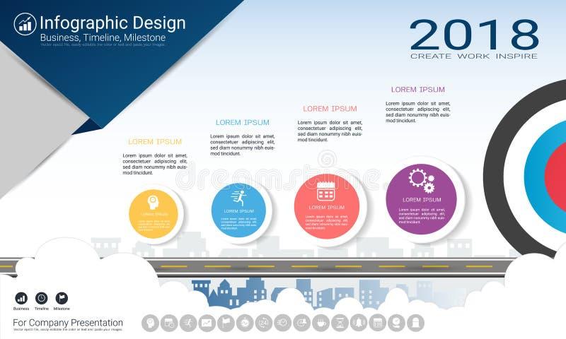 Molde do infographics do negócio, espaço temporal do marco miliário ou mapa de estradas com opções do fluxograma de processo 4 ilustração do vetor