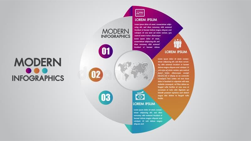Molde do infographics do negócio para o diagrama, o gráfico, a apresentação e a carta Conceito dos elementos com 3 opções, porçõe ilustração stock