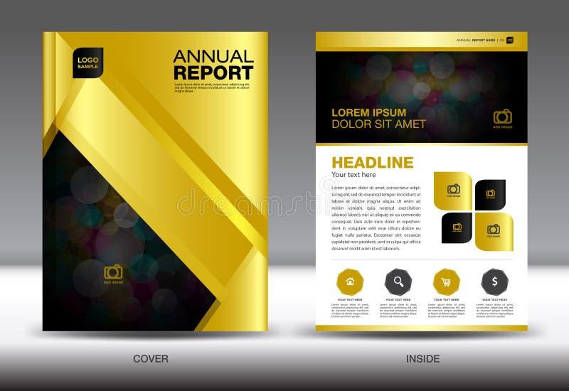 Molde do informe anual do ouro, projeto da tampa do ouro, YER do fl do folheto, dentro ilustração do vetor