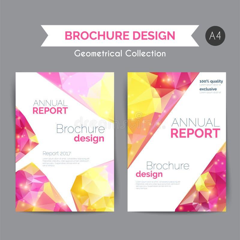 Molde do informe anual Inseto moderno com formas geométricas no baixo estilo poli Folheto abstrato do negócio ilustração stock