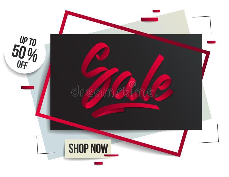 Molde do inseto da venda com rotulação, cartaz, cartão, bandeira, projeto da propaganda, papel moderno dos desenhos animados do e ilustração stock