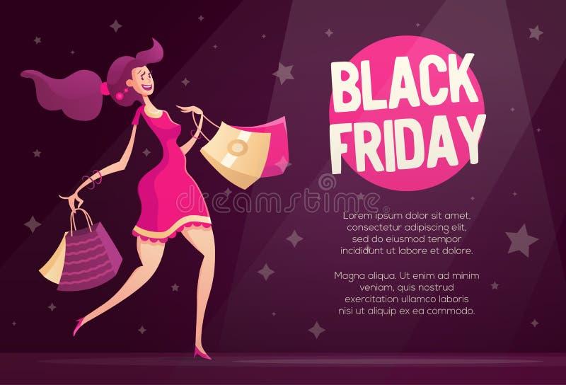 Molde do inseto de Black Friday com o cliente fêmea feliz ilustração stock