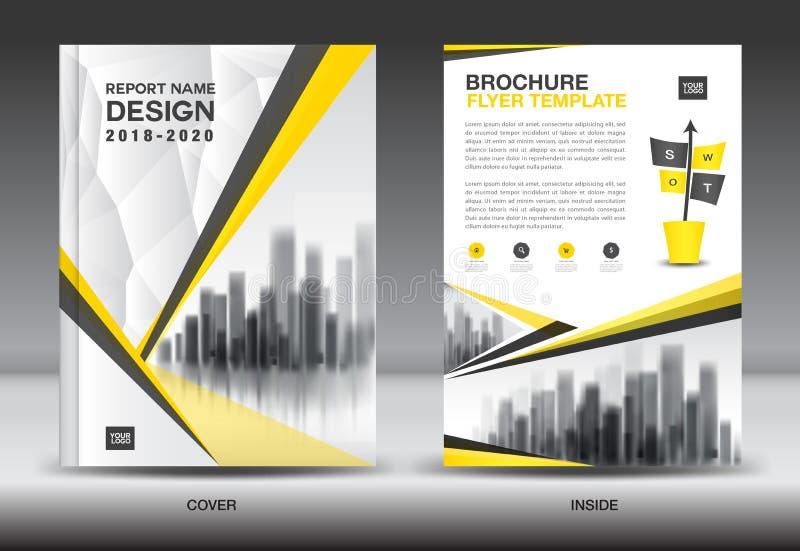 Molde do inseto do folheto do informe anual, projeto amarelo da tampa ilustração stock