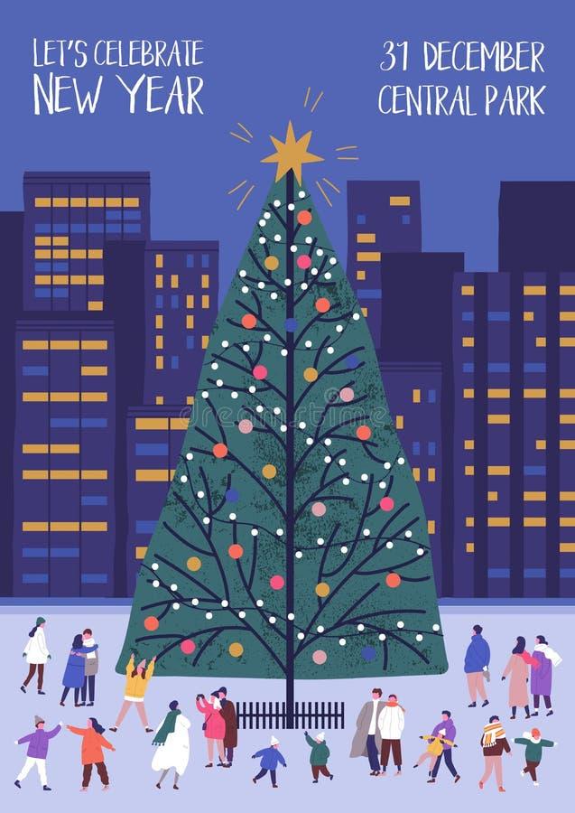 Molde do inseto ou do cartaz com a árvore de Natal decorada e os povos minúsculos que andam próximo no quadrado de cidade Vetor m ilustração royalty free