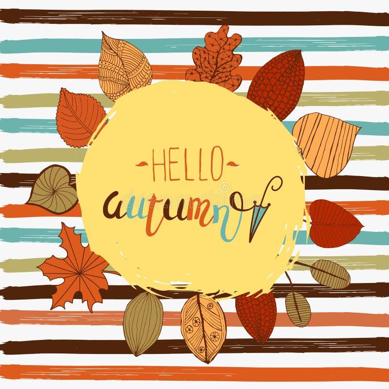 Molde do inseto do outono de Hellor com rotulação Folhas brilhantes da queda Cartaz, cartão, etiqueta, projeto da bandeira Ilustr ilustração do vetor