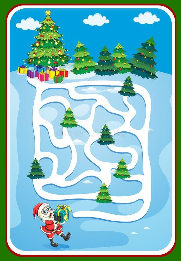 Molde do jogo com Santa e árvore de Natal ilustração stock