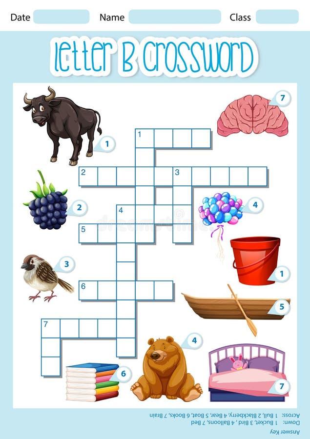 Molde do jogo da letra B das palavras cruzadas ilustração royalty free
