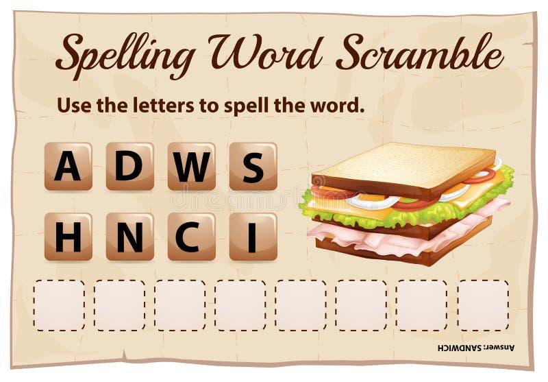 Molde do jogo da precipitação da palavra da soletração com sanduíche da palavra ilustração do vetor