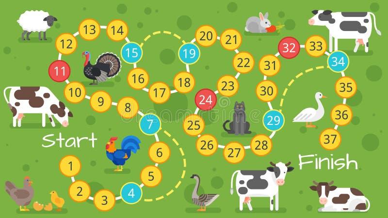Molde do jogo de mesa da exploração agrícola das crianças ilustração royalty free