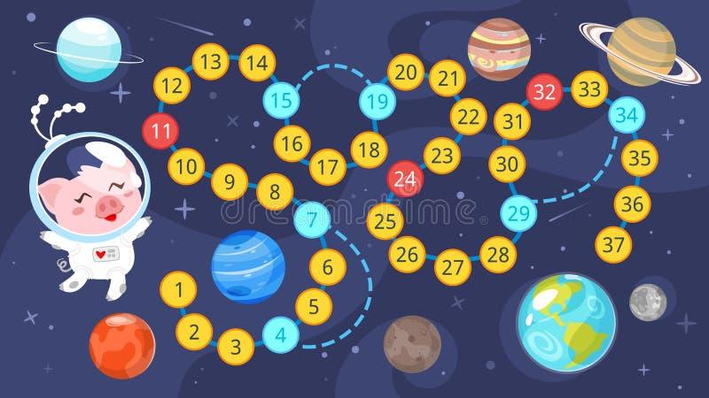 Molde do jogo de mesa do espaço das crianças ilustração royalty free