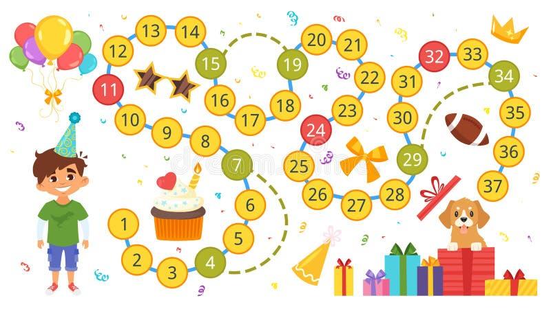 Molde do jogo de mesa do feliz aniversario ilustração royalty free