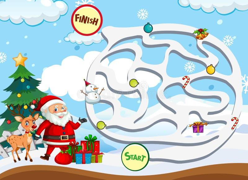 Molde do jogo do labirinto do Natal ilustração royalty free