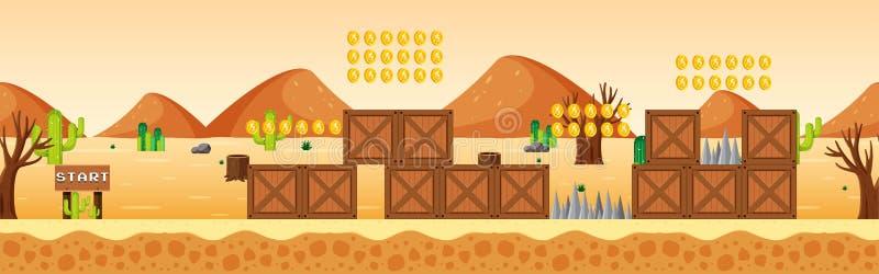 Molde do jogo na cena do deserto ilustração stock