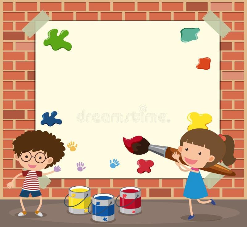 Molde do Livro Branco com pintura do menino e da menina ilustração do vetor