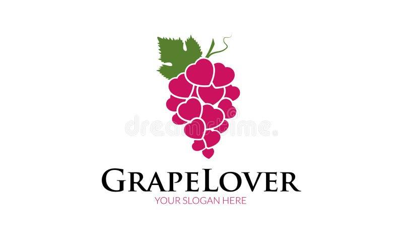 Molde do logotipo do amante da uva ilustração do vetor