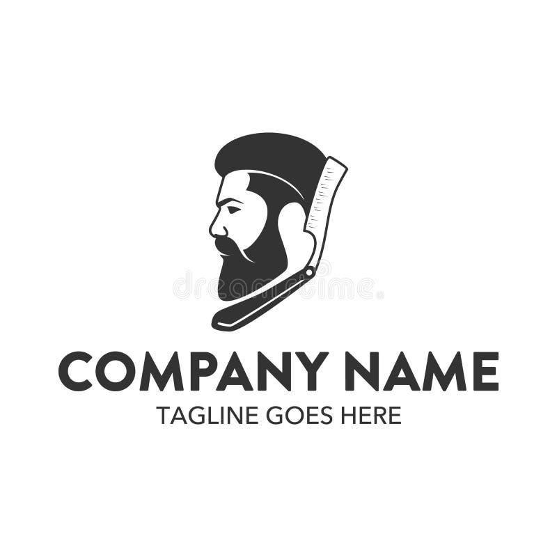 Molde do logotipo do barbeiro Vetor editable ilustração royalty free