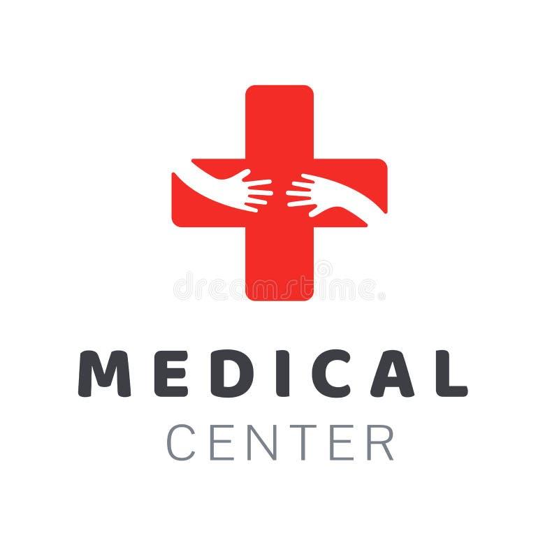 Molde do logotipo do centro médico Elemento creativo do projeto Símbolo da clínica de saúde do molde ilustração royalty free