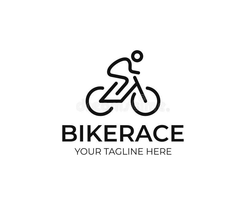 Molde do logotipo do ciclista Linha projeto da bicicleta do vetor da arte ilustração stock