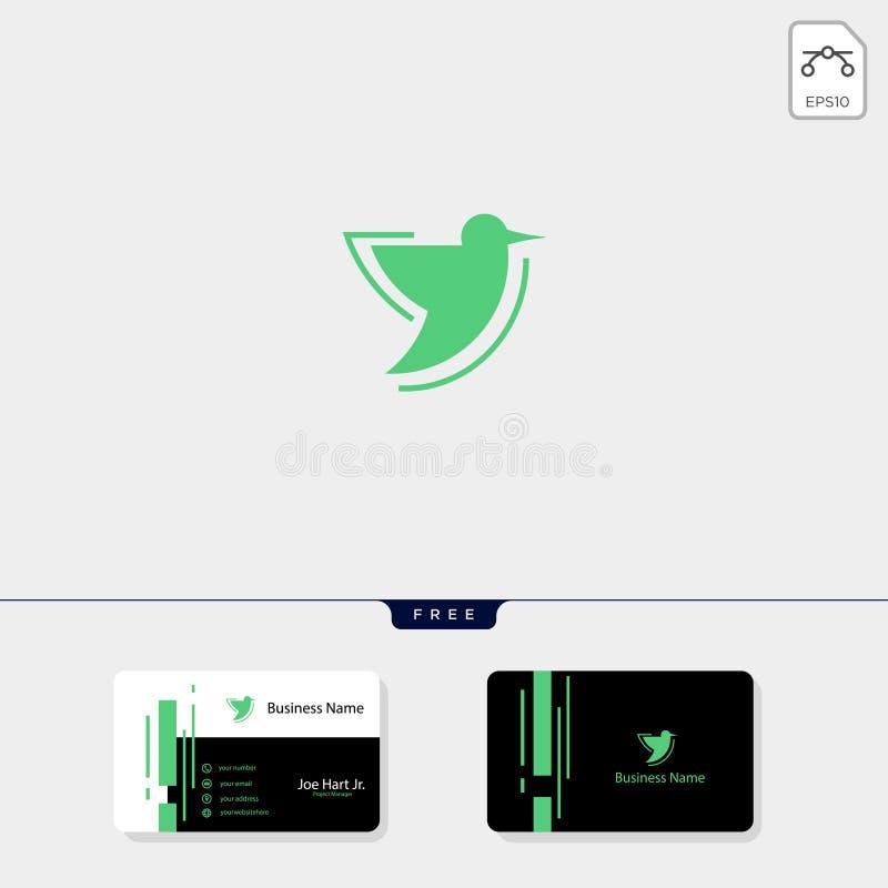 molde do logotipo do colibri, molde livre do projeto de cartão da ilustração do vetor ilustração royalty free