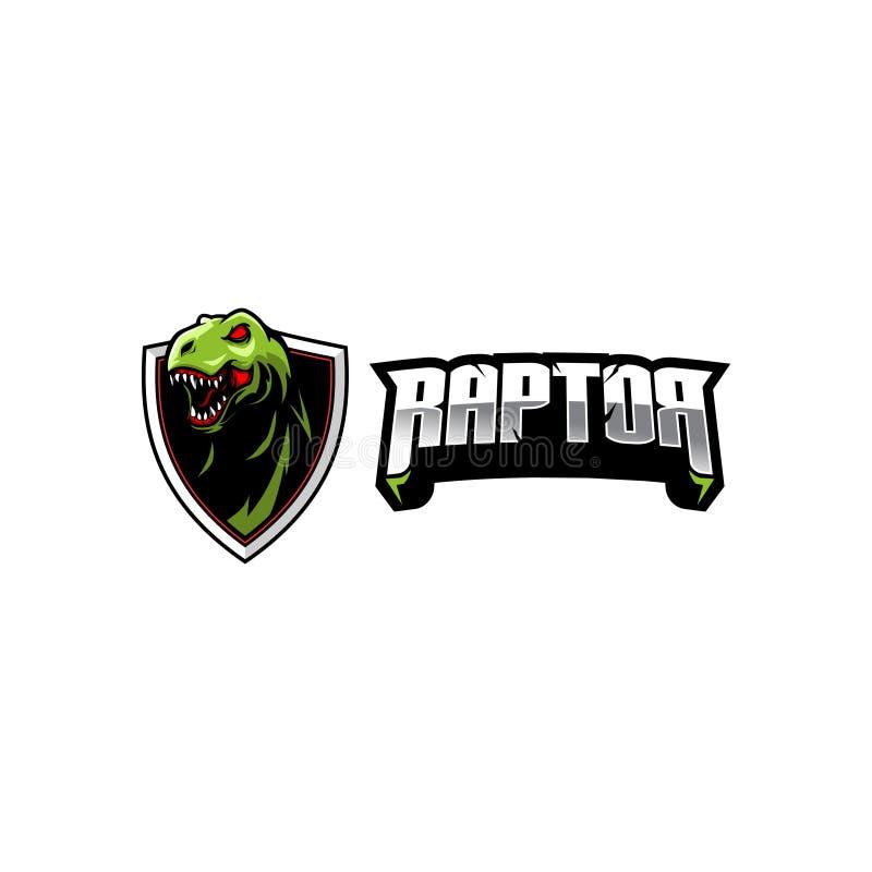 Molde do logotipo do crachá do vetor da cabeça de T-rex do dinossauro da ave de rapina ilustração stock