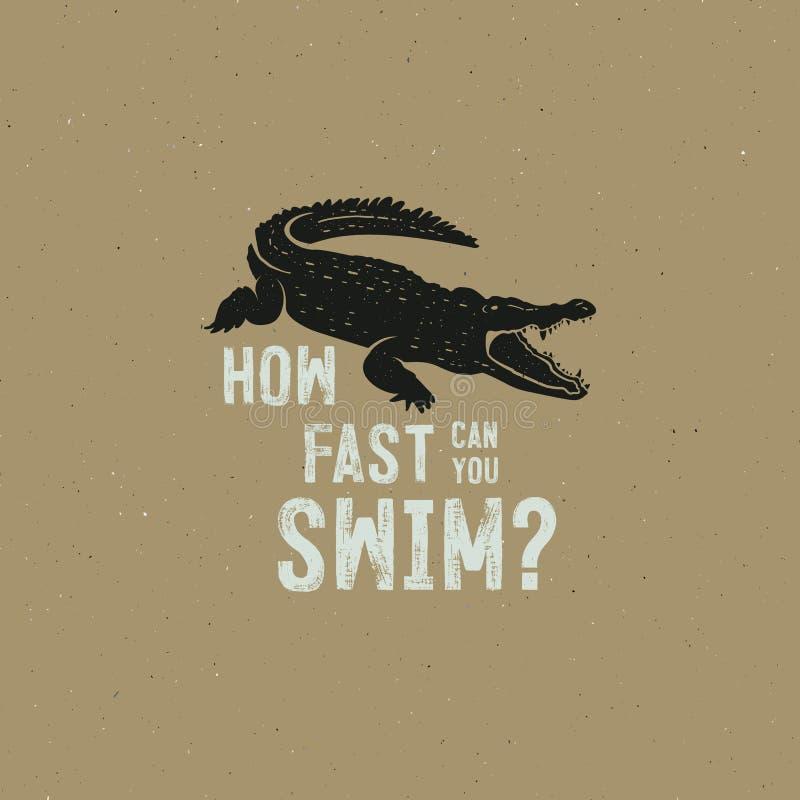 Molde do logotipo do crocodilo Símbolo do jacaré, crocodilo com texto Projeto do crachá da tipografia do animal selvagem Mão do v ilustração royalty free