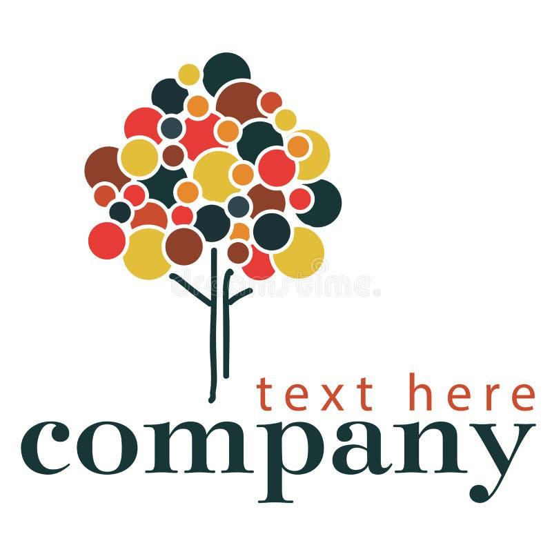 Molde do logotipo da árvore do estilo do pontilhismo fotos de stock royalty free