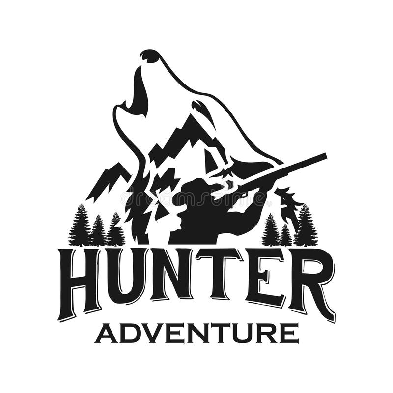 Molde do logotipo da aventura do clube ou da caça de caça ilustração stock