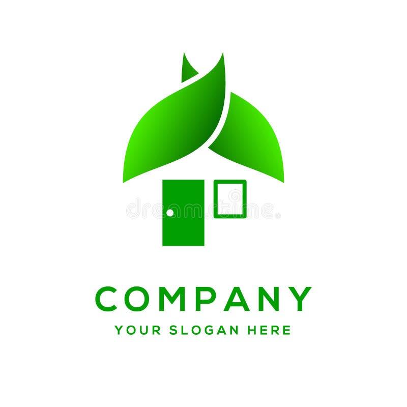 Molde do logotipo da casa verde fotografia de stock royalty free