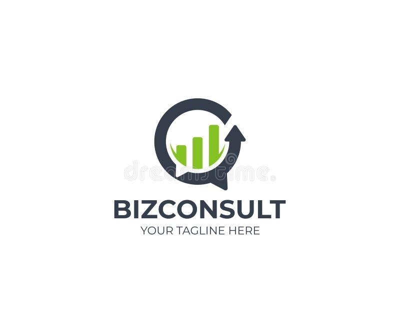 Molde do logotipo da consultoria empresarial Projeto do vetor da bolha do discurso e do gráfico do crescimento ilustração stock
