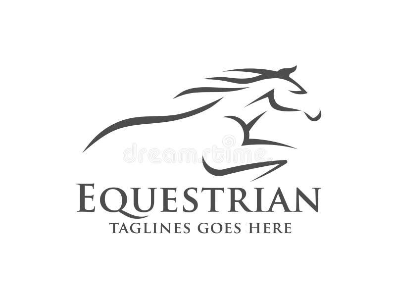 Molde do logotipo da corrida de cavalos, logotipo equestre ilustração royalty free