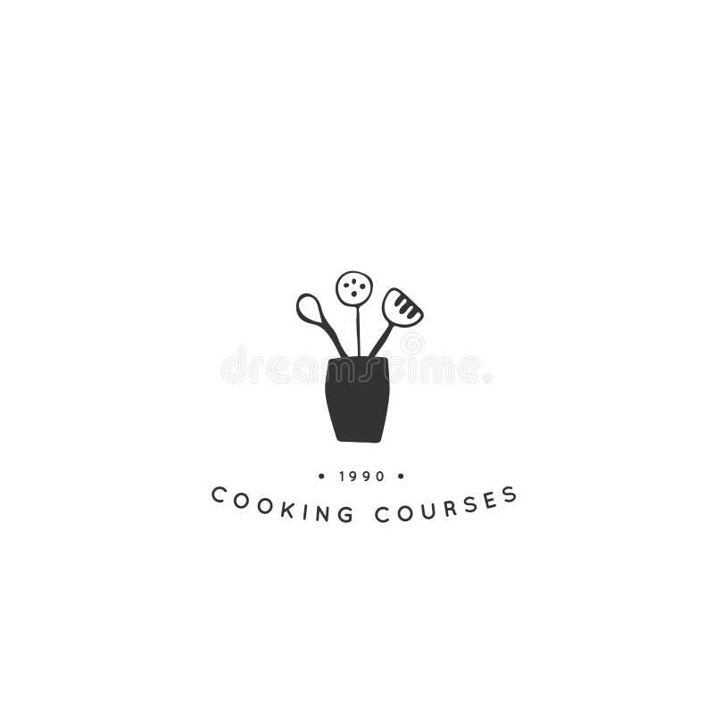 Molde do logotipo da cozinha, um kitchenware Objeto tirado mão do vetor ilustração do vetor