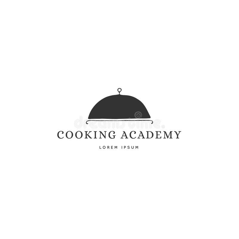 Molde do logotipo da cozinha, um prato Objeto tirado m?o do vetor ilustração stock