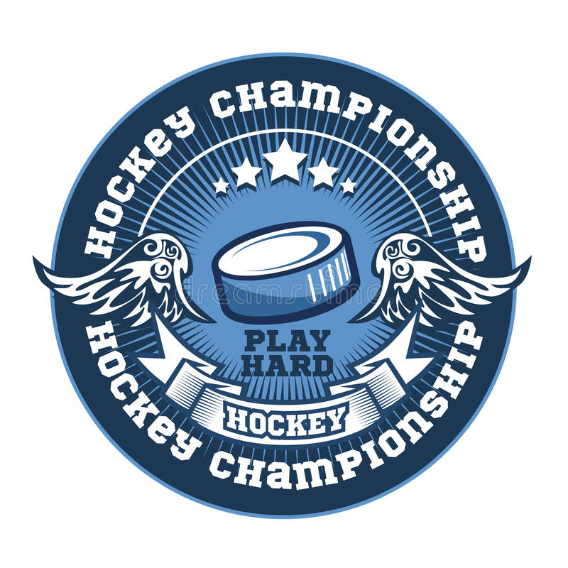 Molde do logotipo da equipa de hóquei Emblema, logotype ilustração stock
