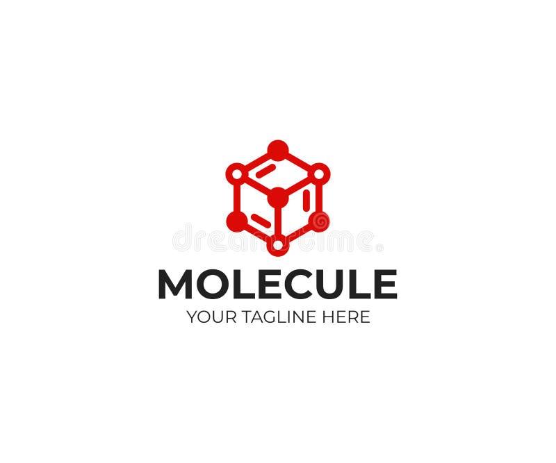 Molde do logotipo da estrutura molecular Projeto do vetor da estrutura química ilustração stock