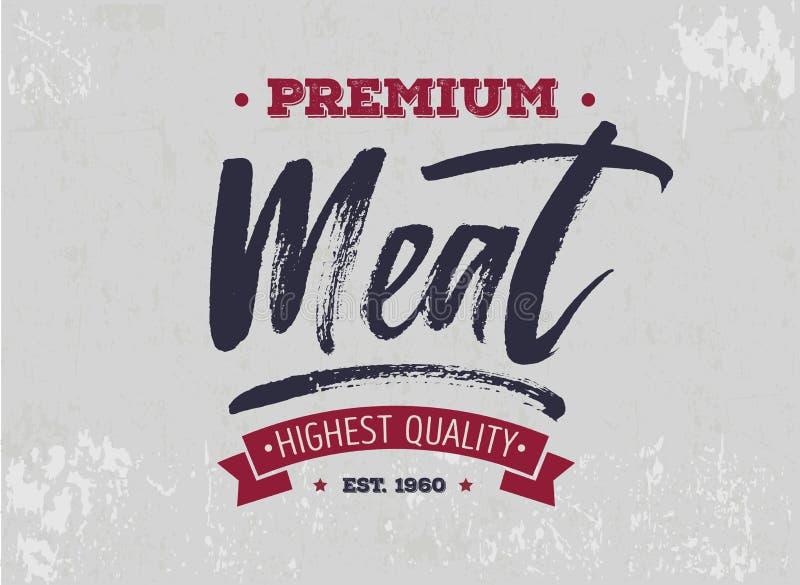 Molde do logotipo da loja de carne com rotulação e efeito do grunge retro ilustração royalty free