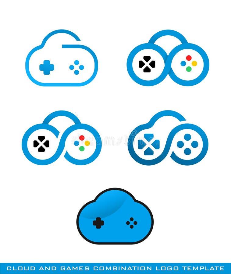 Molde do logotipo da nuvem e dos jogos ilustração royalty free