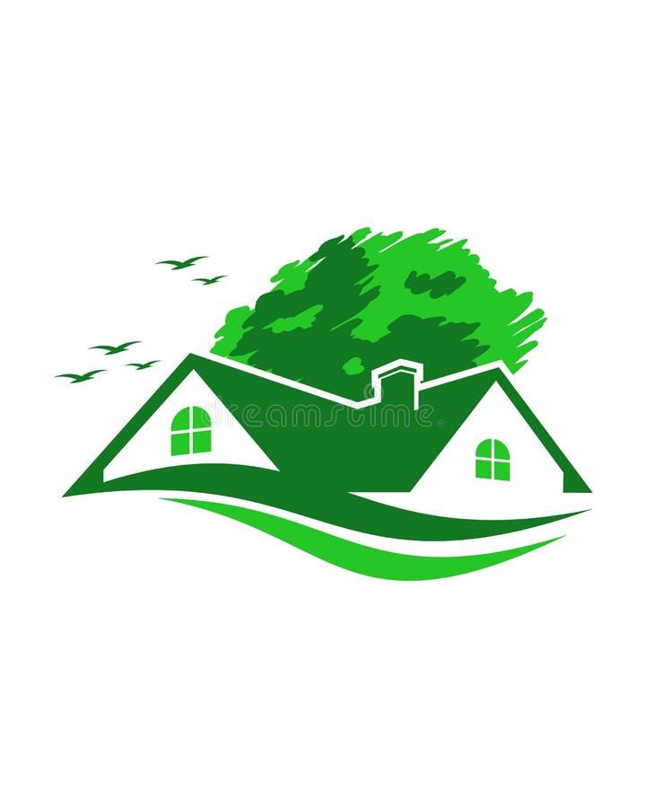 molde do logotipo da propriedade de casa verde no fundo branco ilustração stock