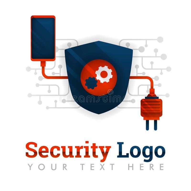 Molde do logotipo da segurança para uma comunicação, eletrônica, indústria do smartphone, tecnologia, rede, mecanismo, indústria, ilustração stock