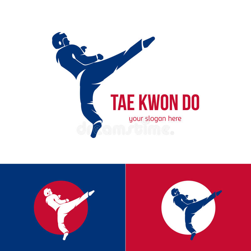 Molde do logotipo de taekwondo do vetor Crachá das artes marciais Simbolize para eventos de esportes, competições, competiam Silh ilustração stock